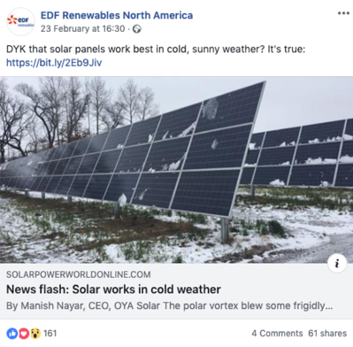 EDF Renewables Facebook post