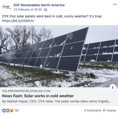 EDF Renewables Facebook post