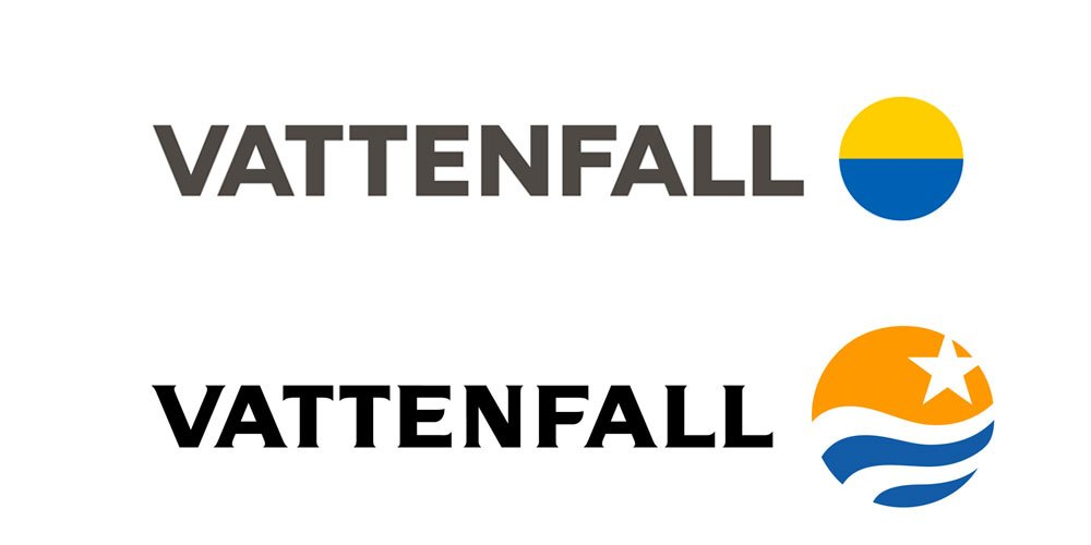 vattenfall rebrand new and old logos